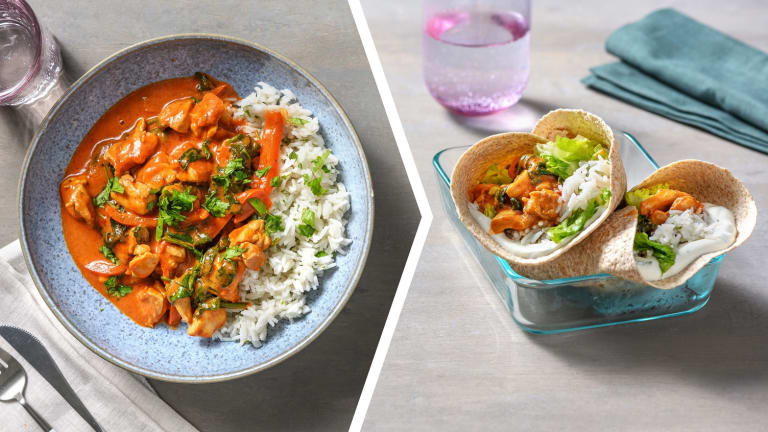 Chicken Tikka Curry and Cardamom Rice