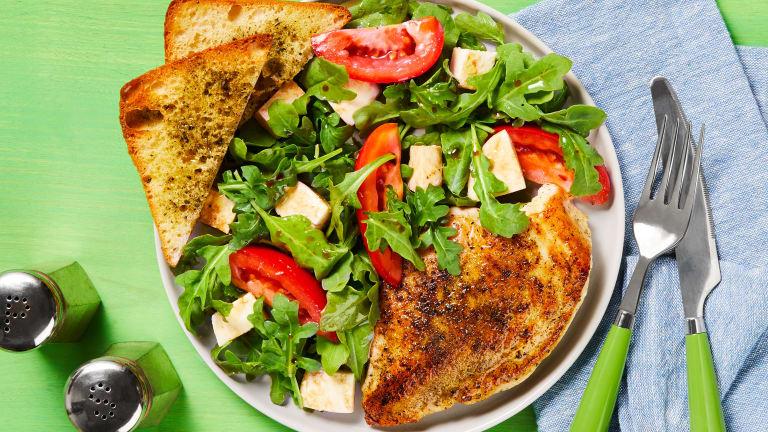 Chicken with Arugula Caprese Salad