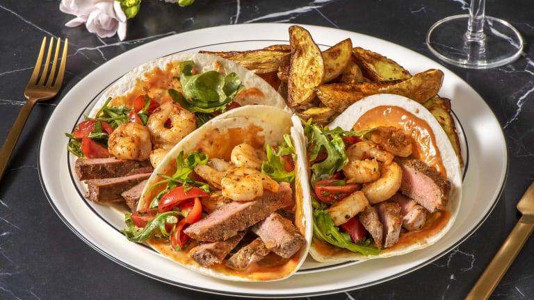 Chimmichurri Sirloin Steak and Prawn Tacos
