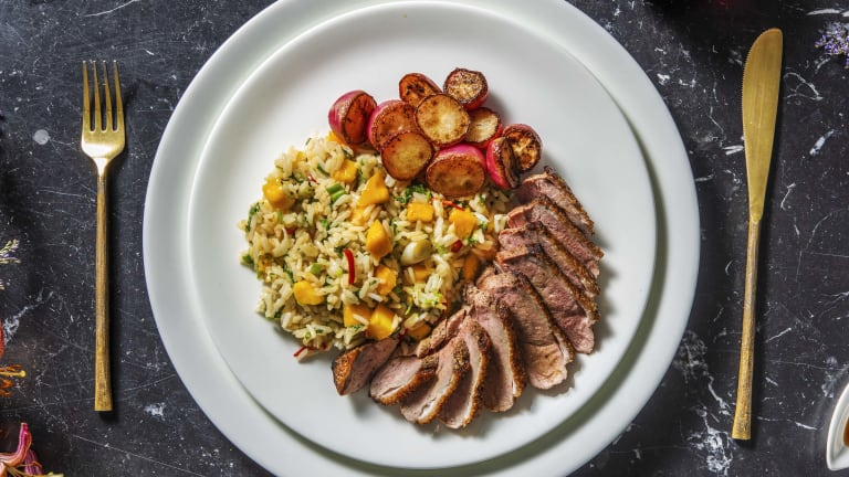 Chinese 5 Spice Duck with Rice and Mango Salad
