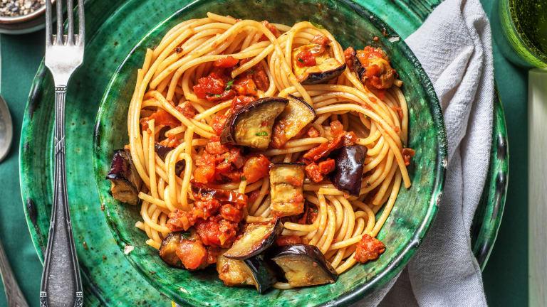 Chorizo Aubergine Spaghetti