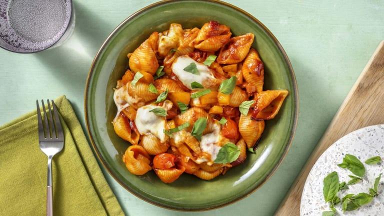 Conchiglie met mozzarella en pecorino uit de oven