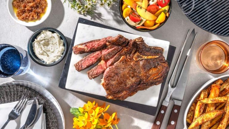 Côte de bœuf, échalotes confites & frites