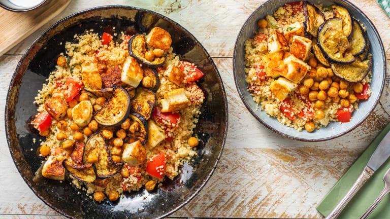 Couscous met halloumi, kikkererwten en aubergine