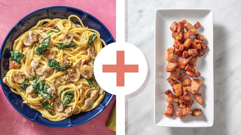 Creamy Double Bacon, Mushroom & Cheese Spaghetti