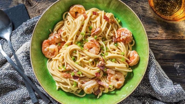 Creamy Prawn & Bacon Spaghetti