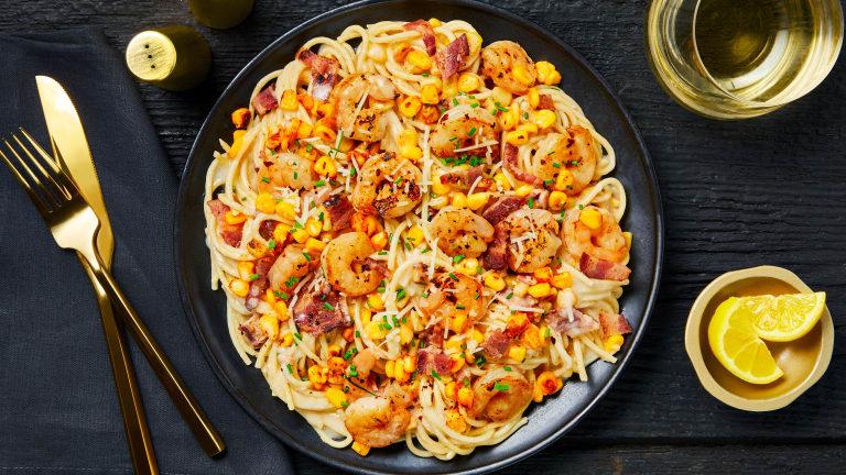 Creamy Shrimp & Bacon Spaghetti