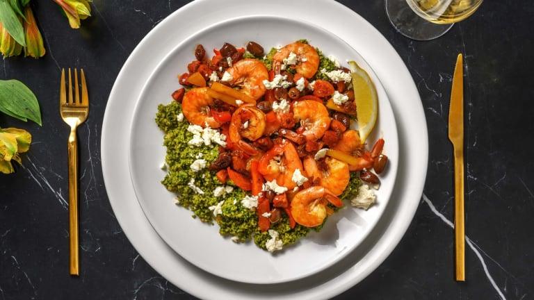 Crevettes marinées, chorizo, poivron et olives