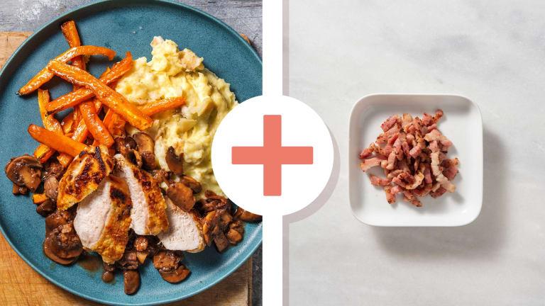 Crispy Skin Chicken Breast with Bacon Lardons
