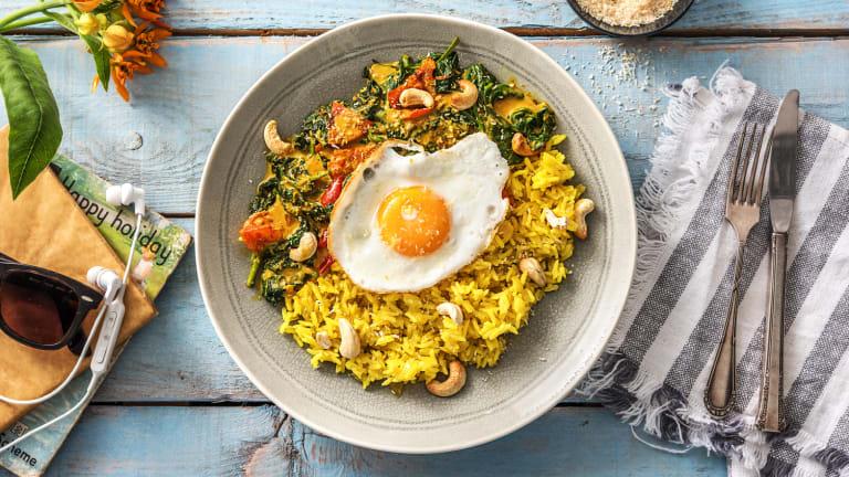 Curry d'épinards et riz au curcuma