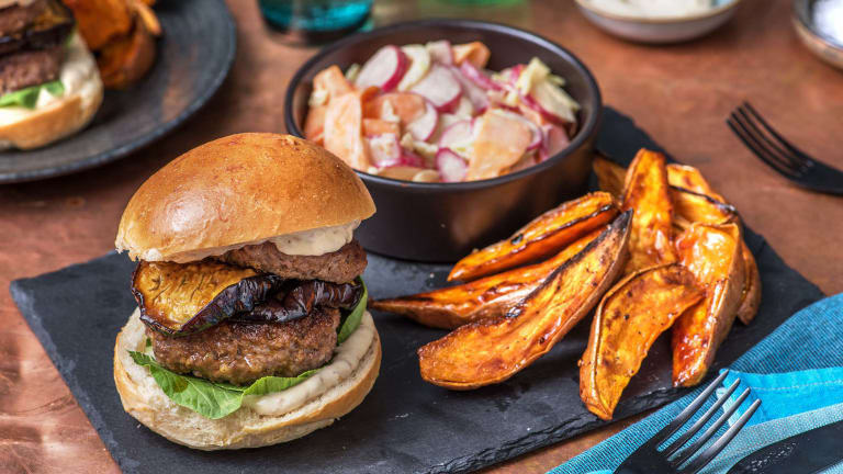 Double Miso Beef Burger and Sticky Aubergine