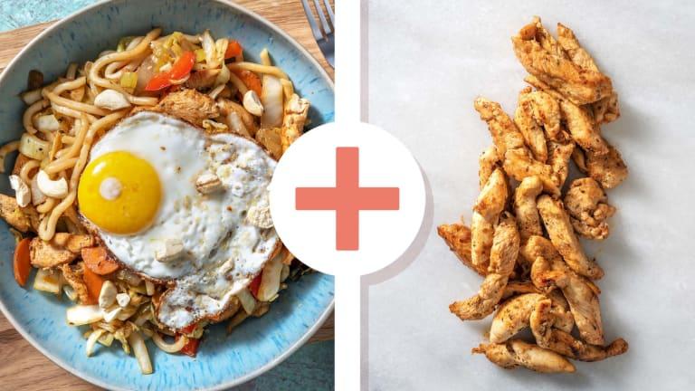 Snelle wokschotel met dubbele portie kipfiletreepjes