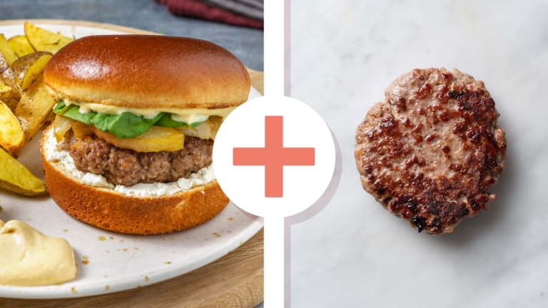 Double Stacked Goat Cheese and Pear Burgers