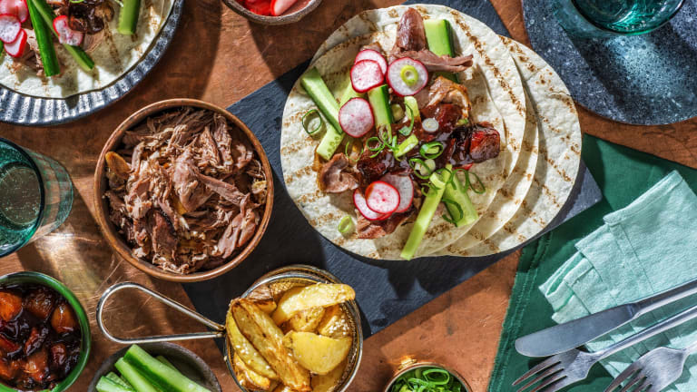 Duck Tacos and Plum Sauce