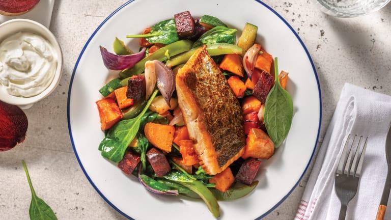 Easy Dukkah Salmon & Garlic Sauce with Roast Veggie Toss