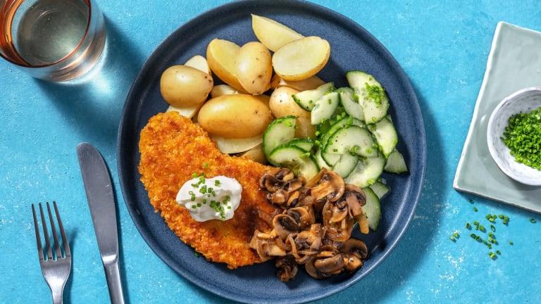 Vegetarische schnitzel met champignonroomsaus