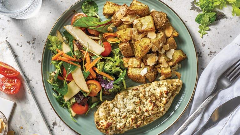 Fetta & Pesto Hasselback Chicken with Pear Salad & Roasted Potatoes