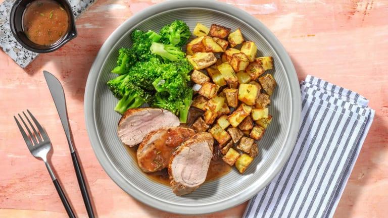 Filet de porc poêlé & sauce fraise-balsamique