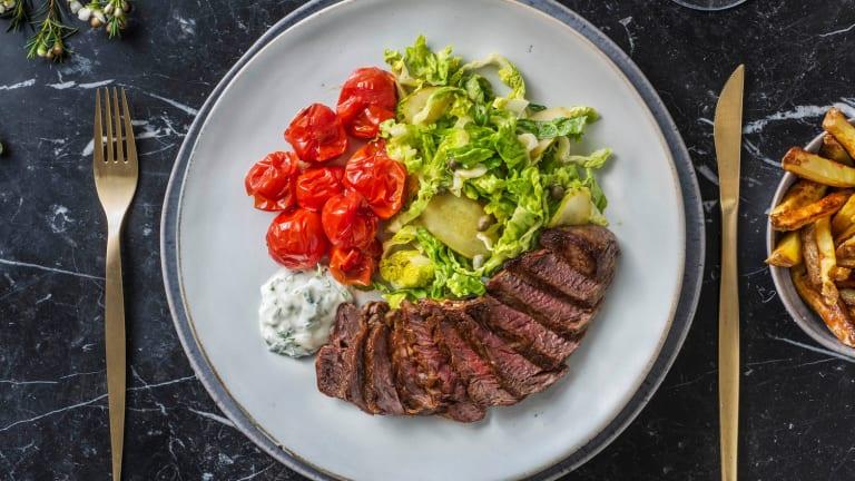 Steak frites met dragonmayonaise