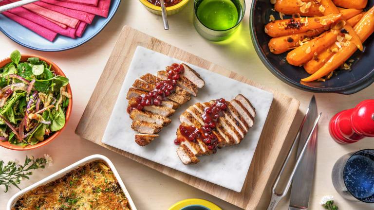 Varkensfilet met cranberrysaus en aardappelgratin