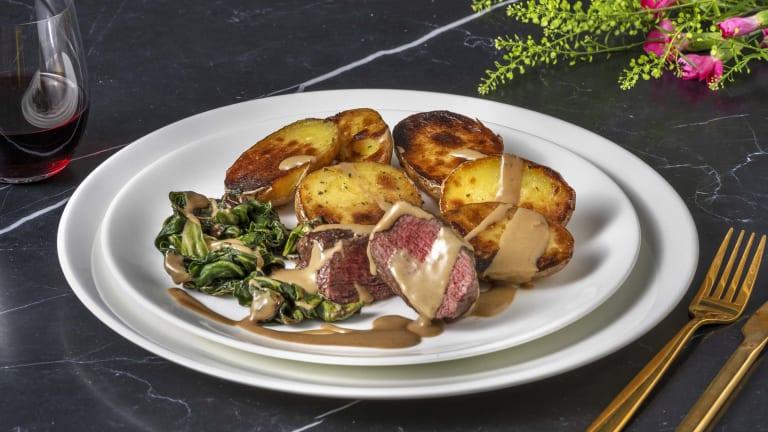 Rump Steak and Creamy Wild Mushroom Sauce
