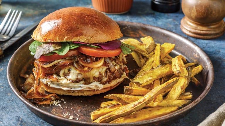 Cheesy Beef Burger & Peppercorn Aioli