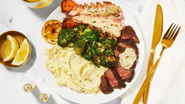 Garlic Herb Butter Steak & Lobster Tails