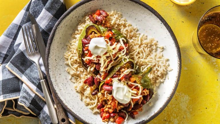 Gevulde paprika met chili con carne
