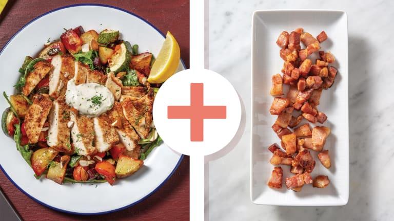 Golden Chicken, Bacon & Roast Root Veggie Salad