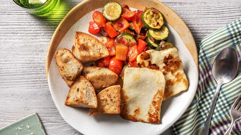 Golden Halloumi and Ratatouille
