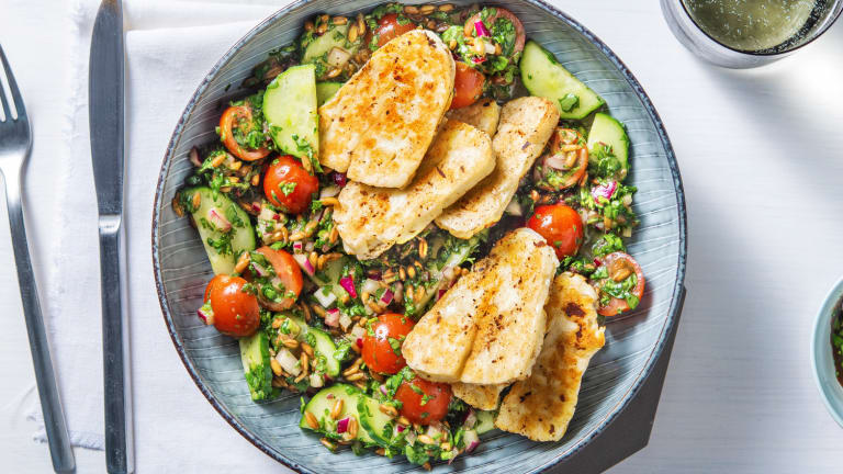 Greek Grain and Golden Halloumi Salad