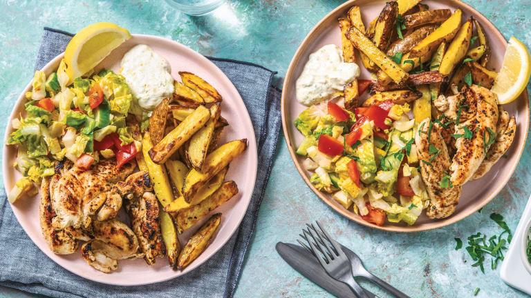 Greek Style Chicken & Lemon Pepper Fries
