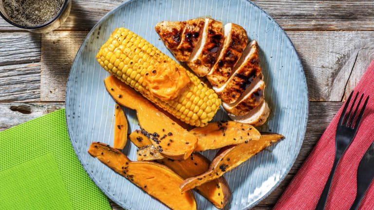 Grilled Sticky Chicken with Sesame Sweet Potato Wedges