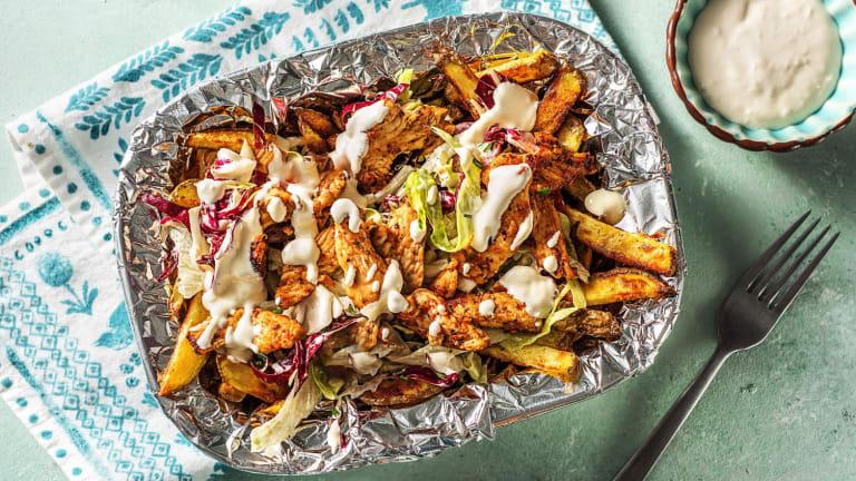 Gyros de poulet avec des frites maison