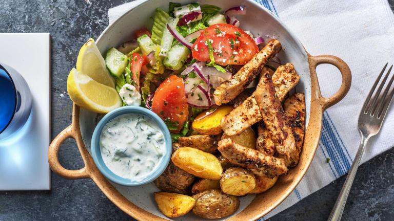 Würziges Gyros mit griechischem Salat