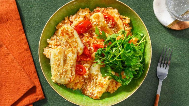 Halloumi and Sun-dried Tomato Risotto