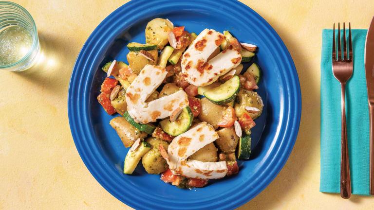 Warm Potato & Haloumi Salad with Basil Pesto