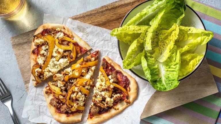 Harissa Sausage Naan Pizza