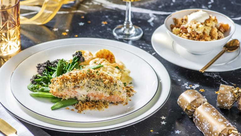 Herby Crusted Salmon with Dauphinoise