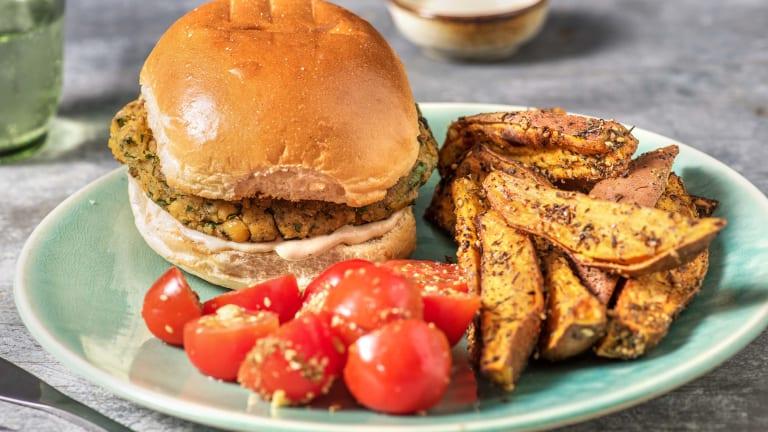 Herby Falafel Burger and Tahini Sauce