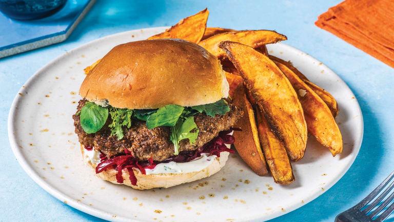 Lamb & Beetroot Relish Burger