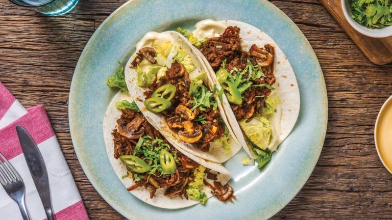 Hoisin Beef & Mushroom Tacos