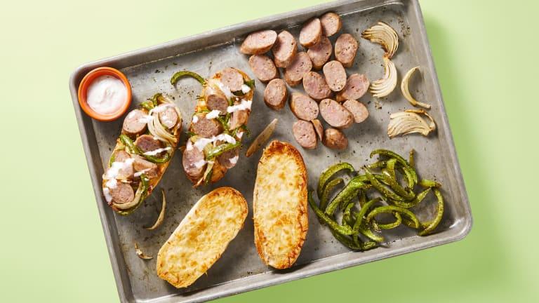 Open-Faced Pork Sausage Sandwiches