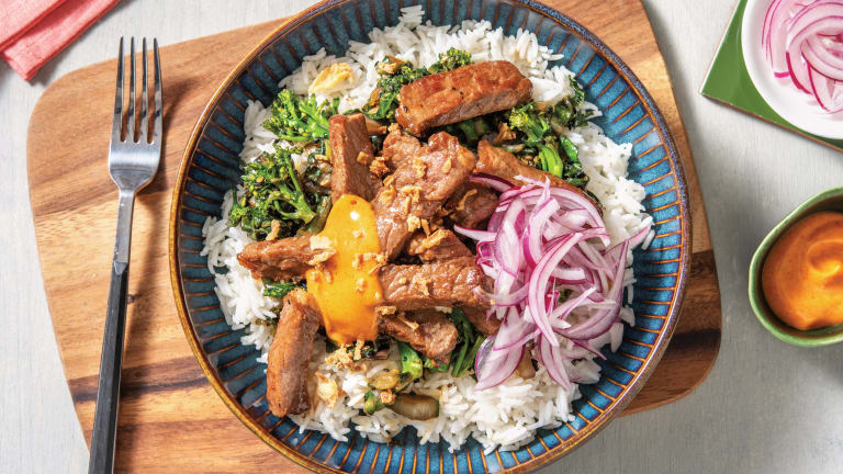Japanese Beef & Garlic Rice Bowl with Quick-Pickled Onion & Coconut-Chilli Mayo