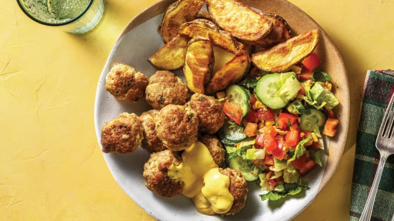 Caribbean Pork Rissoles with Wedges & Mango Mayonnaise