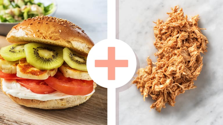 Pulled Chicken Kiwi-Halloumi-Burger
