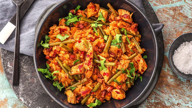 Kruidige jambalaya met pittige kip
