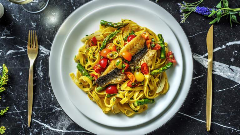 Pan Fried Sea Bass and Fresh Tagliatelle