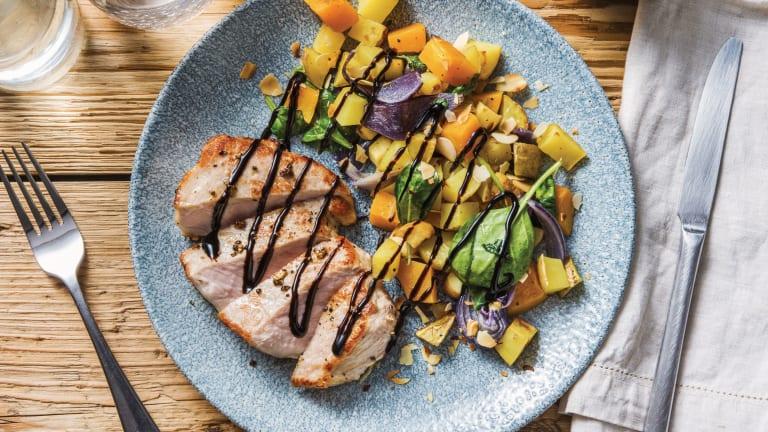 Lemon Pepper Pork & Roast Veggie Toss