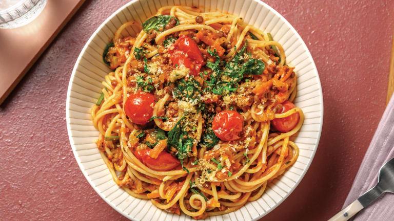 Lentil, Veggie & Red Pesto Spaghetti